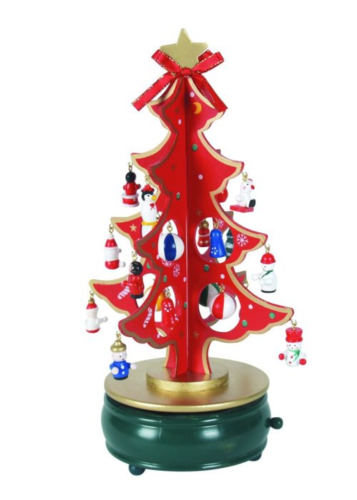 Rotating Christmas tree with figurines music box - 28,5 cm
