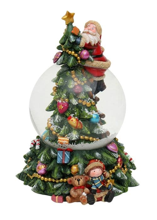 """Polyresin Schneekugel """"Weihnachtsmann am Tannenbaum"""" 13,3 x 12,5 x 18,5 cm"""