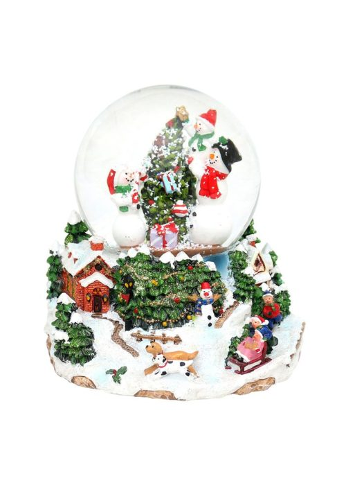 "Polyresin Snowglobe ""Snowmen at Christmas tree"" 15 x 14 x 14 cm"
