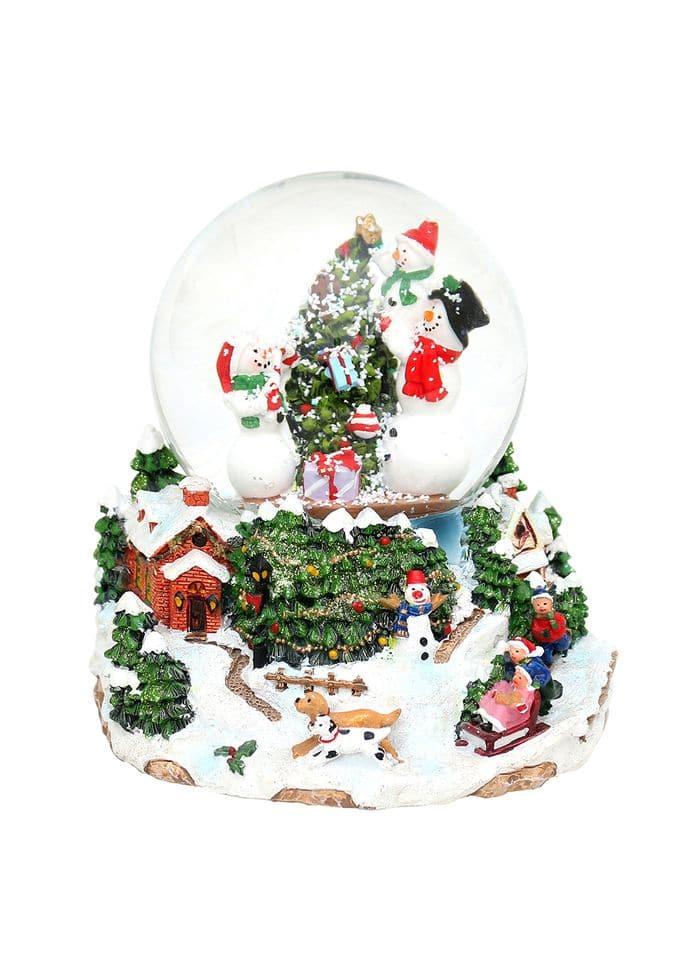"""Polyresin Schneekugel """"Schneemänner am Weihnachtsbaum"""" 15 x 14 x 14 cm"""