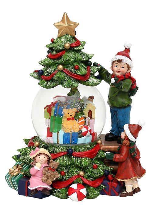 """Schneekugel """"Kinder am Weihnachtsbaum"""""""