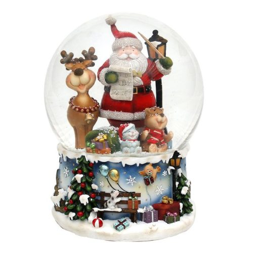 "Polyresin Schneekugel ""Santa mit lustigem Elch"" 15 x 15 x 20 cm"