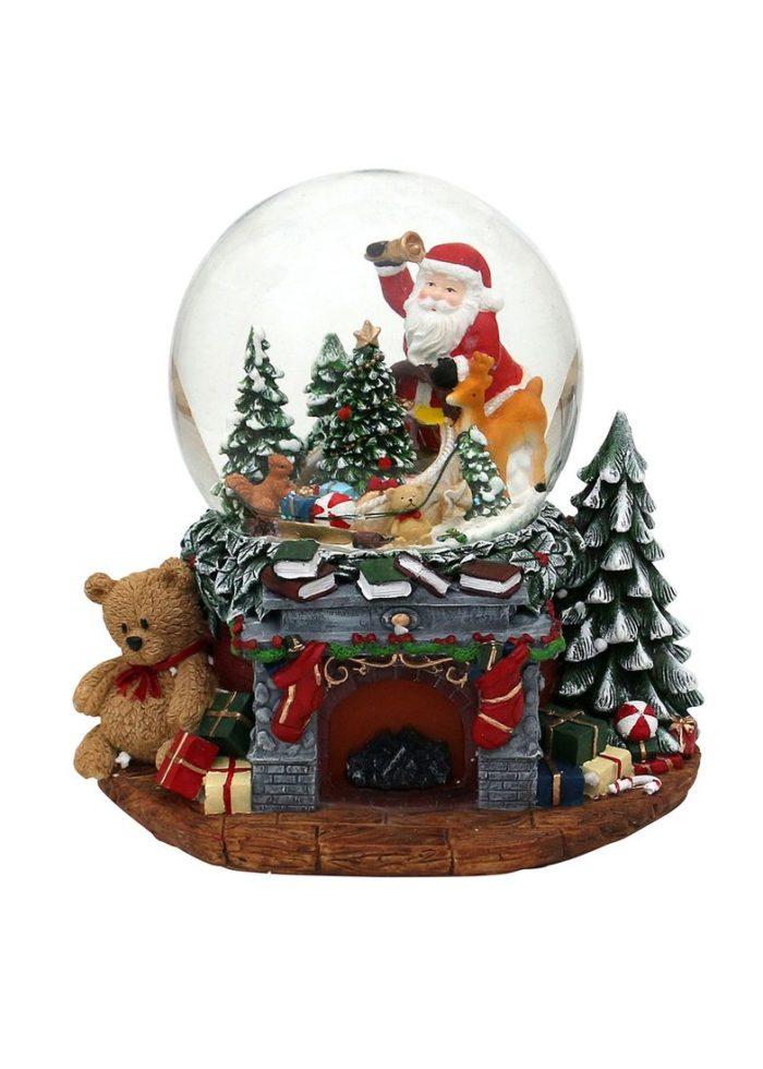 """Polyresin Schneekugel """"Weihnachtskamin"""" mit Santa & Tannenbaum 25,5 x 20 x 22,5 cm"""
