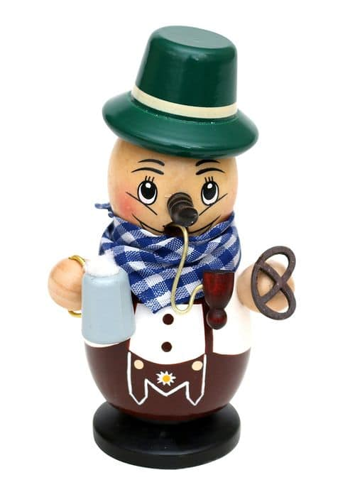 Bayer Smoking man with pretzel and beer - 7,5 x 6 x 11,5 cm